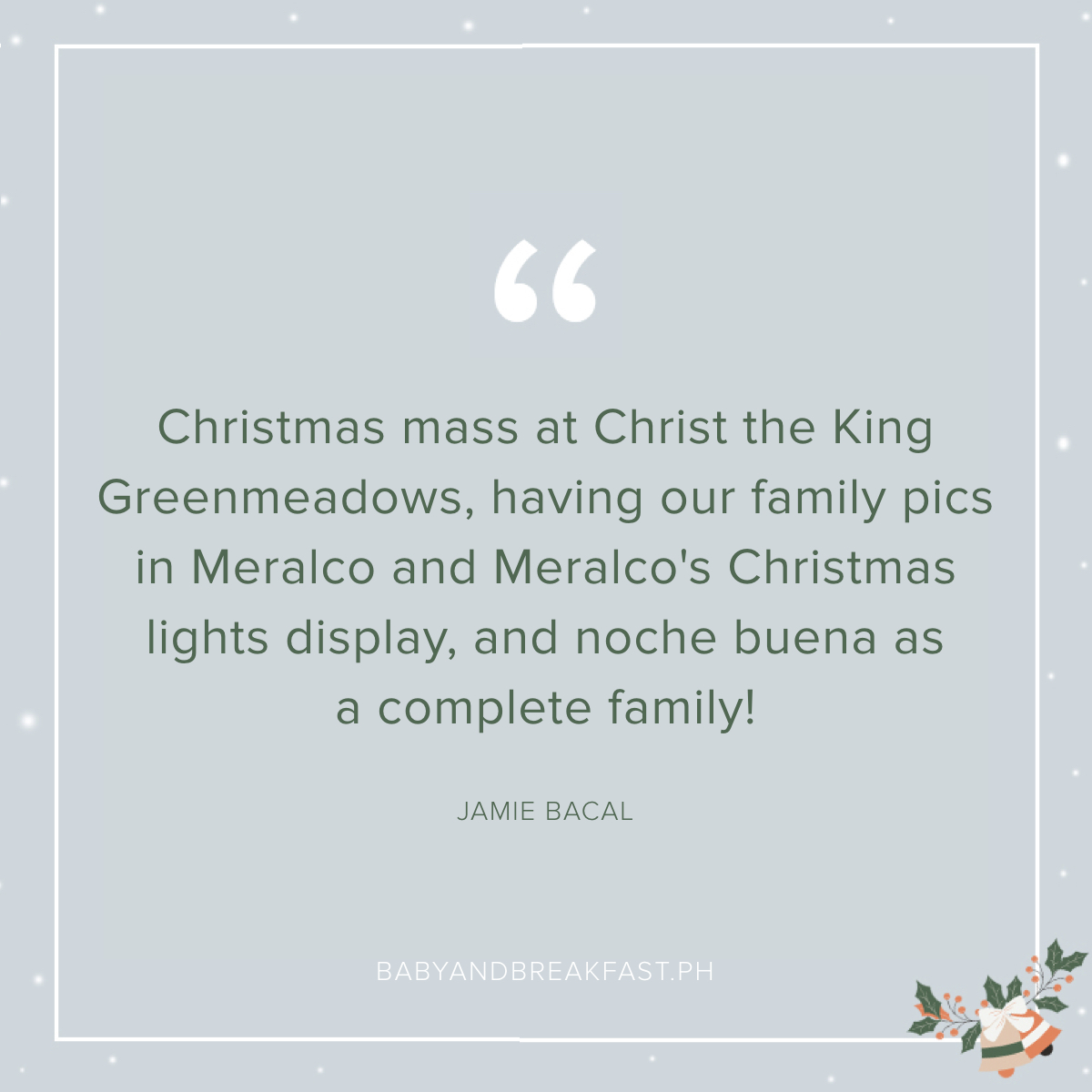 Christmas mass at Christ the King Greenmeadows, having our family pics in Meralco and Meralco's Christmas lights display, and noche buena as a complete family! - Jamie Bacal