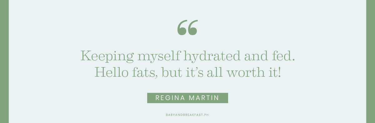 Keeping myself hydrated and fed. Hello fats, but it's all worth it! Regina Martin